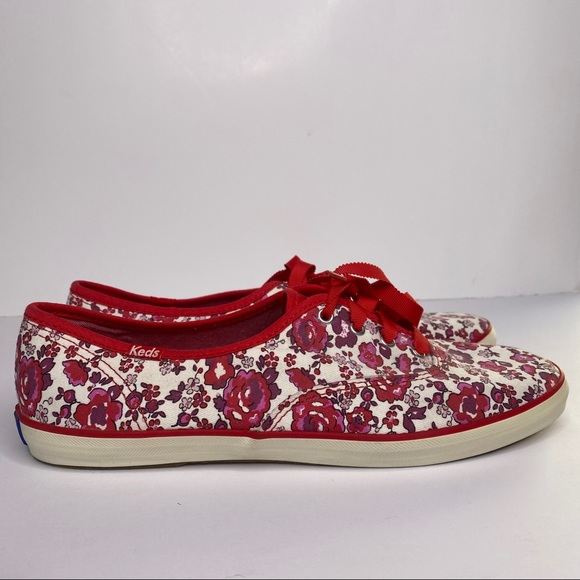 Keds womens floral rose red canvas lace up shoes 9
